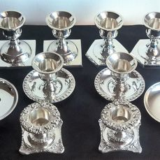 10 candlesticks (5 different pairs) in silver plated metal - by Jordan Sheffield, Rome, Italy - late 20th century