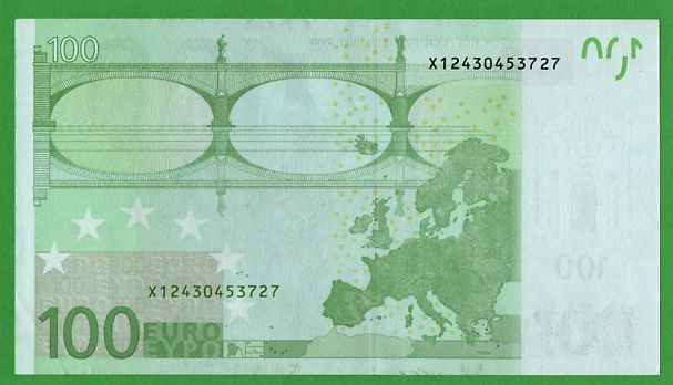 European Union - Germany - 100 Euro 2002 - DRAGHI - MISSING 100 ON BOTTOM RIGHT REVERSE, usado segunda mano