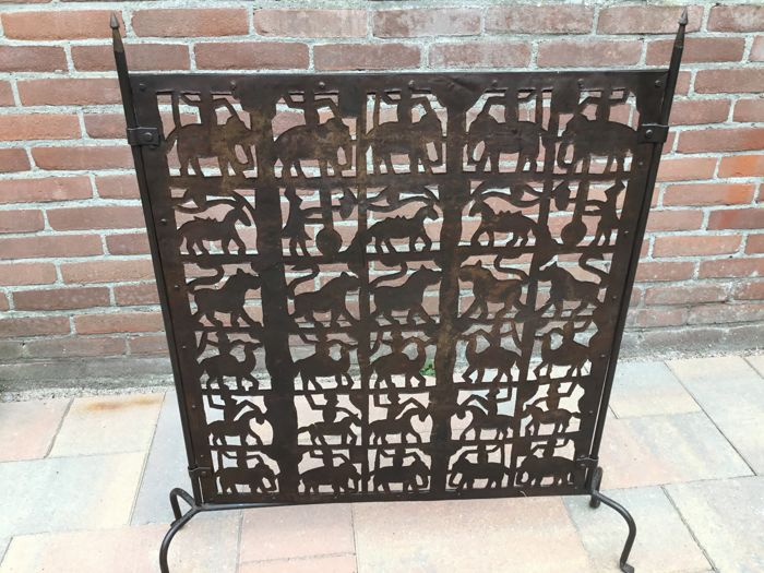 Wrought Iron Fireplace Screen With Pictures Of Animals Catawiki
