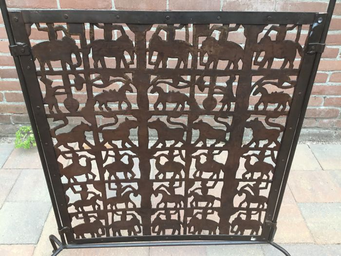 Wrought Iron Fireplace Screen With Pictures Of Animals