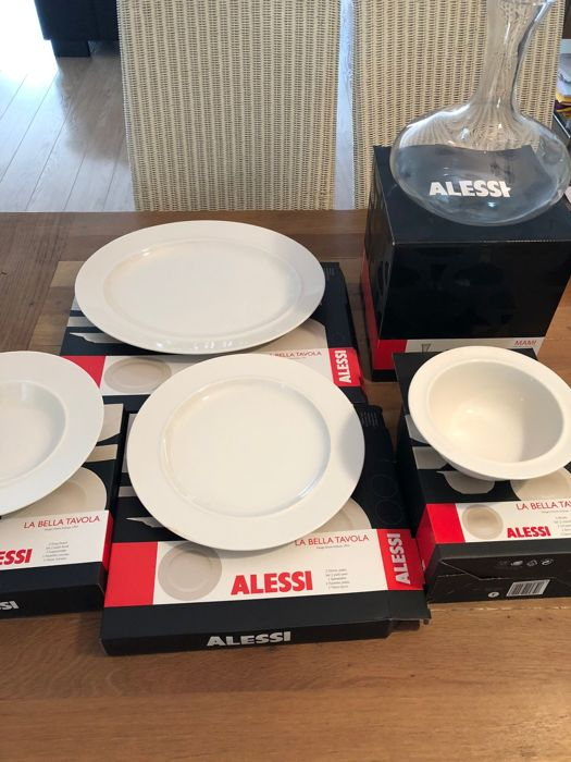 Ettore Sotsass For Alessi Bella Tavola 6 Soup Plates 6 Dinner