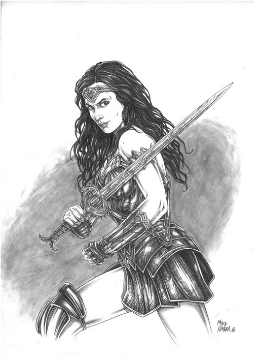 Wonder Woman - Original Drawing - Mike Ratera - 42 x 30 cm - First edition