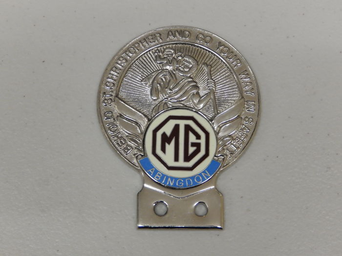Insigne - St Christopher Chrome MG Abingdon Car Badge - 1980