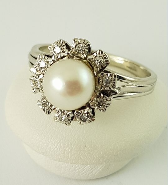 18 kt. White gold - Pearl Ring - 750 Gold - 1 Pearl + 10 Diamonds - Diamond