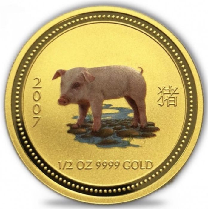 Australia - 50 Dollars 2007 Year of the Pig - colored 1/2 oz - Gold