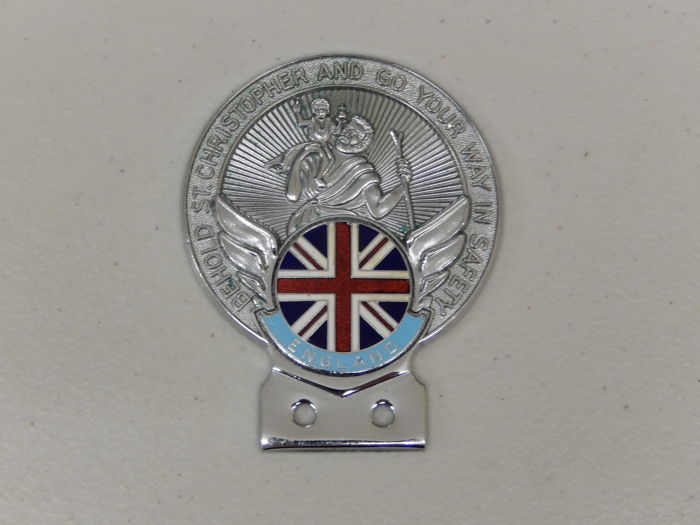 Plakette - St Christopher England Union Jack Flag Car Badge - 1970