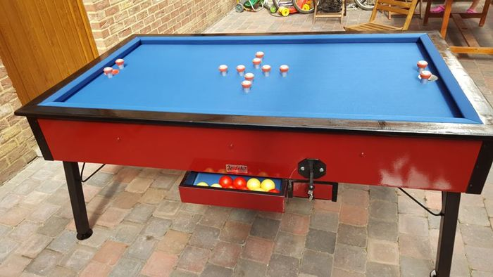 Pool Table With Cap Completely Renewed Blue Stone With Old Coin - Stone pool table