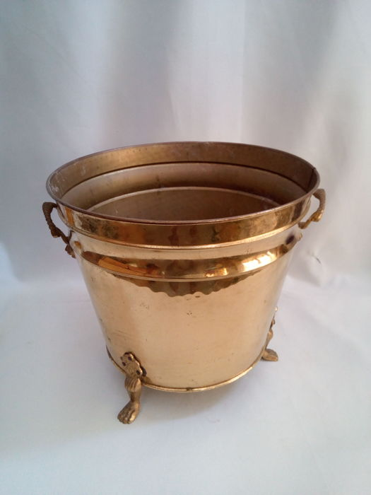 Large Brass Vase Container With Interesting Handles And Feet Catawiki