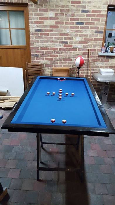 Pool Table With Cap Completely Restored Blue Stone With Vintage - Stone pool table