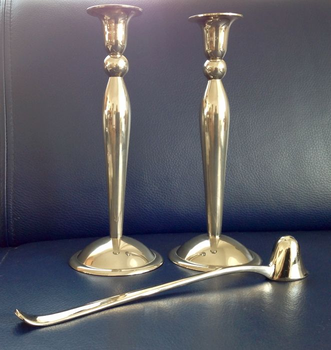 Set of silver plated candle stands, 2 pcs and large, silver plated candle snuffer