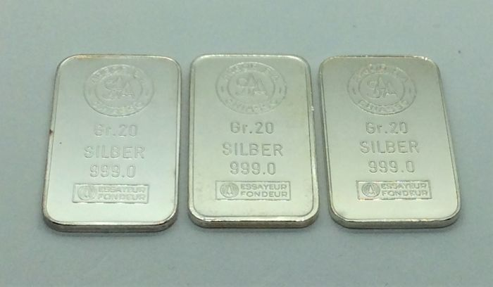 Argor S.A. Chiasso - 3 x 20 grams - 999/1000 - Minted silver bars