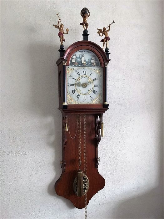 Frisian pendulum clock with mechanism with ships - G.E. Rode - late 20th century