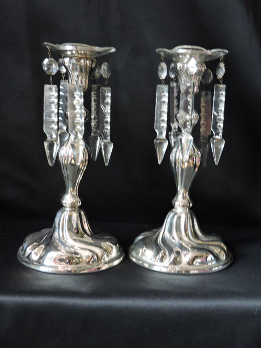 2 antique silver plated candlesticks with antique crystal bobeches