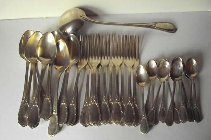 Louis XVI style silver plated cutlery set