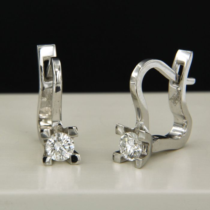 14 quilates Oro blanco - Pendientes - 0.26 ct Diamante