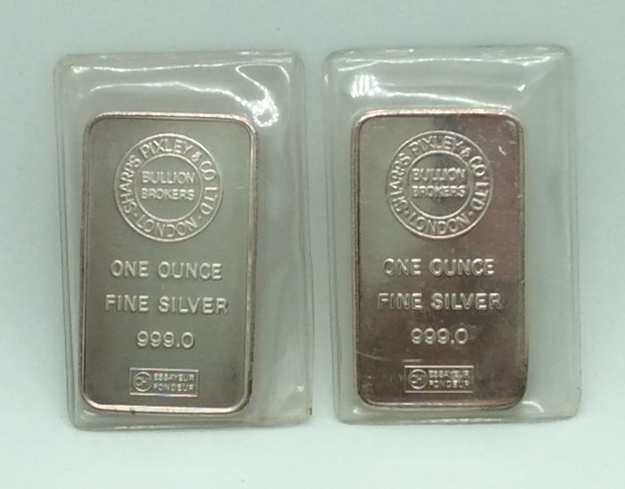 Sharps Pixley & Co L.T.D - 2 x one ounce - 999/1000 - Minted silver bars - Sealed