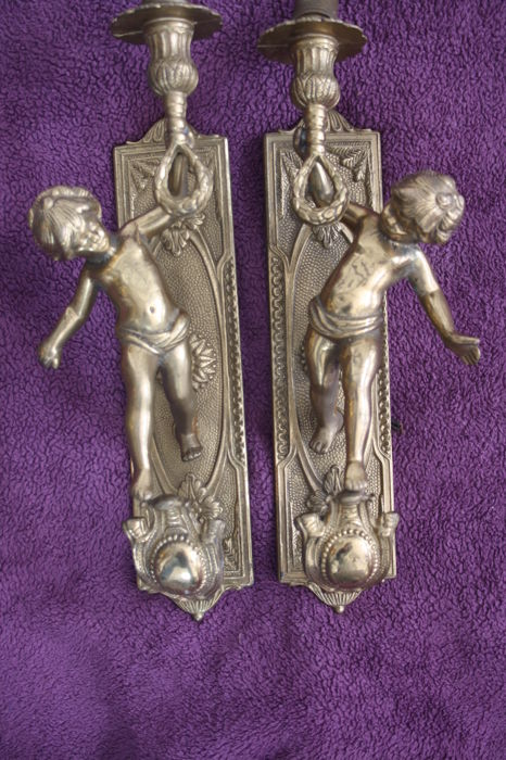 Pair of wall sconces - Putti - c. 1980 - France