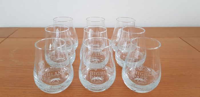 Highland Park 9 Whisky Glasses - with all Viking codes engraved