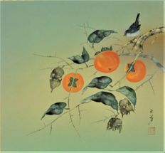 Titmouse on a persimon tree by Sato Gyokuho 佐藤玉芳 - Japan - ca. 1960