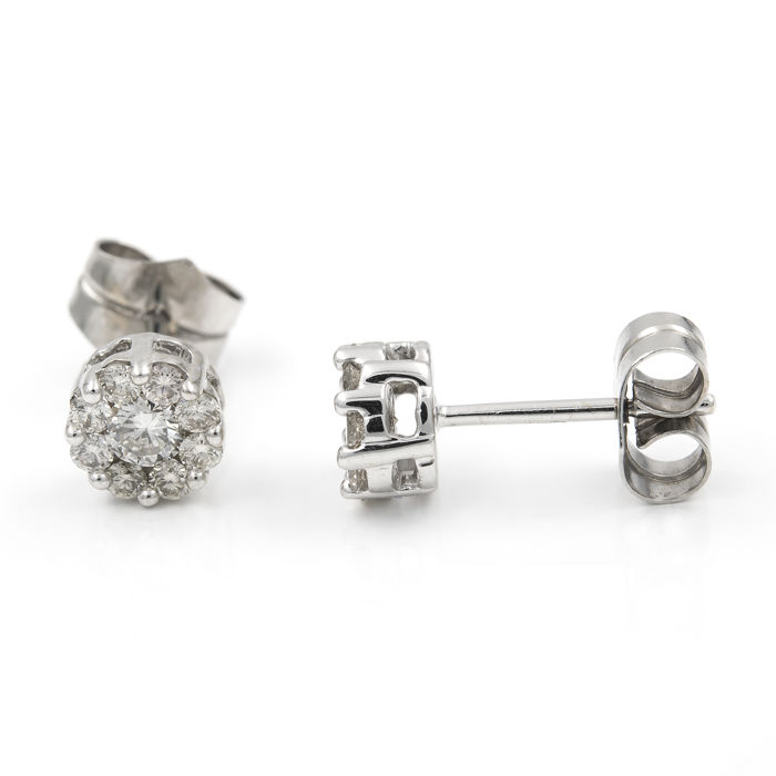 Earrings made in white gold and diamonds inlaid in pressure setting - Earring diameter: 6.40 mm