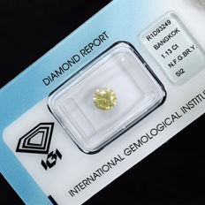 Natural fancy greenish brownish yellow diamond - 1.13 ct, NO RESERVE PRICE