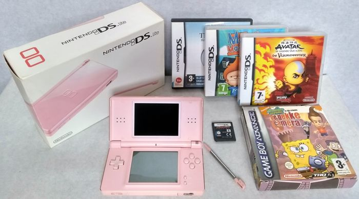 Nintendo Ds Lite Pink Handheld Console Complete In Box With Charger