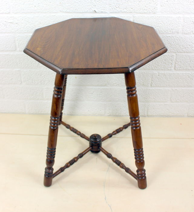 Octagonal oak side table on four legs with mullions, 1st half 1900, Netherlands