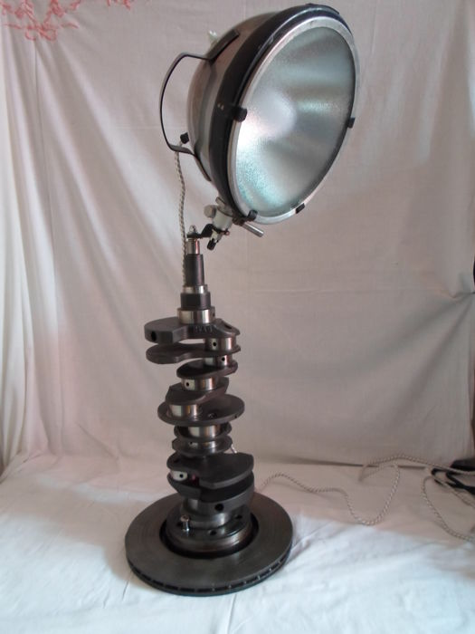 Design lamp hand made from industrial pieces