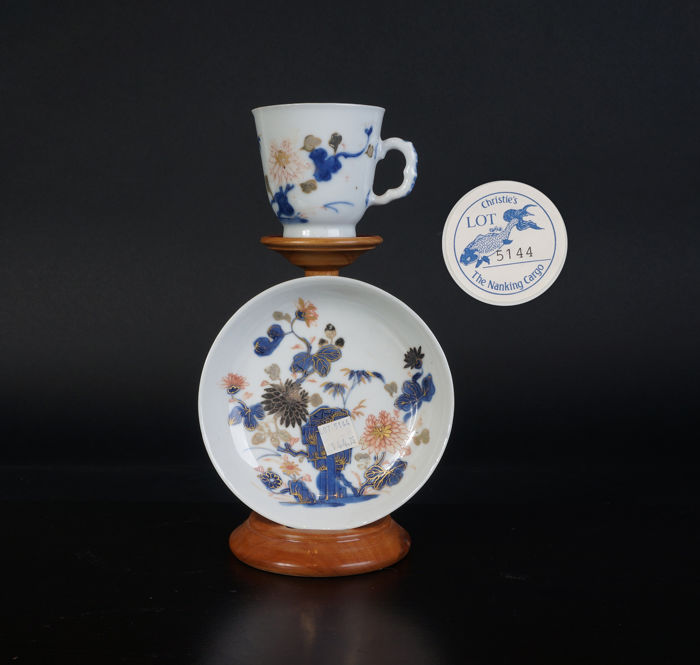 Nanking Cargo blue and white porcelain cup and saucer - China - 18th century
