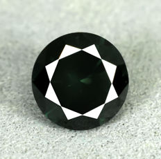 Diamant - 1.05 ct - Brilliant - Fancy Deep Green (treated) - Si2 - NO RESERVE PRICE