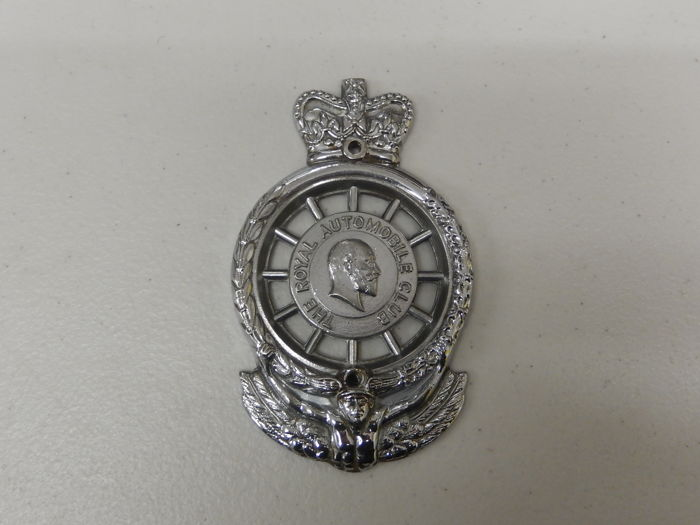 Badge - RAC Edward VII Chrome Car Badge Auto Emblem - 1949