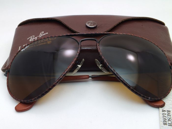27f54bd62d6 Ray-Ban - aviator leather usa bouch-lomb Sunglasses - Vintage ...