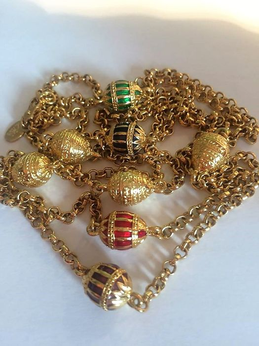 Joan Rivers© - Classis Collection Faberge Egg  Necklace - 24 Carat gold-plated - Like new