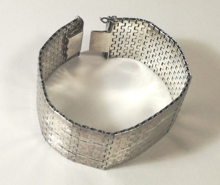 Wide bracelet in solid 925/1000 silver - Mexico Silver ...