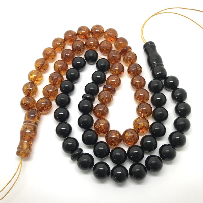 2x Baltic amber rosary Islam prayer beads - 33x ø12 mm, cognac and cherry colours