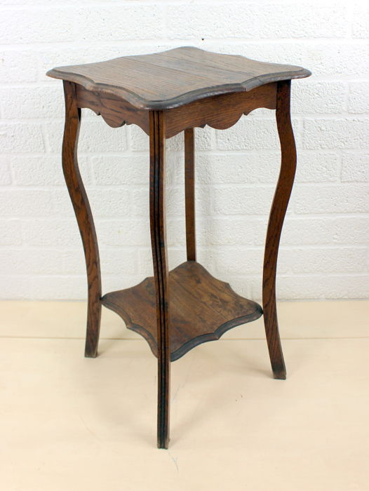 An oak side table / plant table with floor, first half of 1900, France