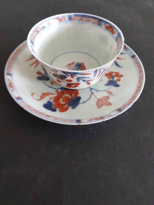 1 Porcelain Imari cup and saucer + extra saucer - China - 18 th century