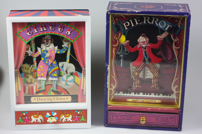 Pierrot en dancing clown speeldoos muziekdoos music box set van 2