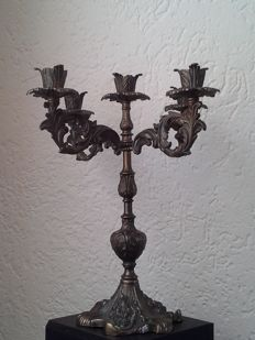 Heavy bronze/copper candlestick with five arms in Baroque style