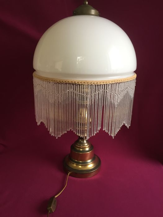 Old Table Lamp With Frosted Glass Shade And Wide Beaded Edge Catawiki