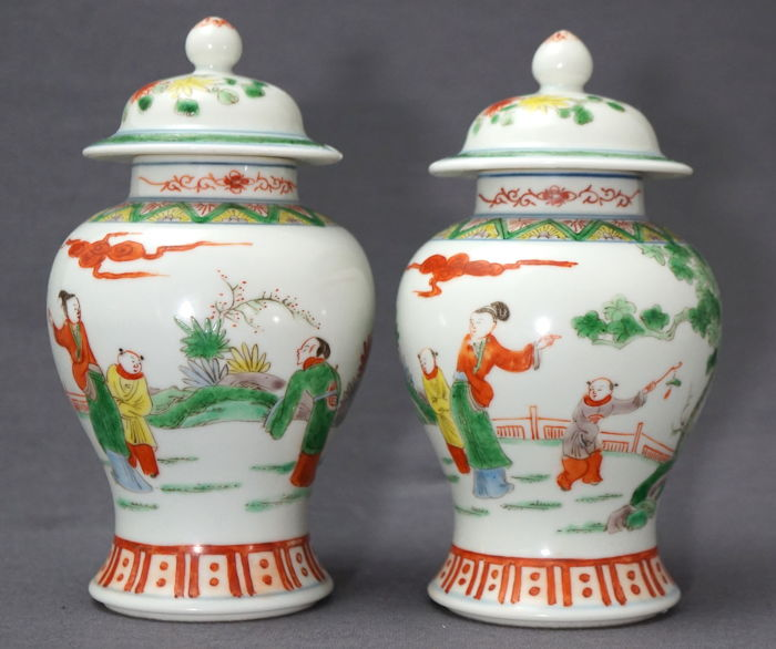 Set Of Baluster Vases With Lids With Decoration Of Figures In A