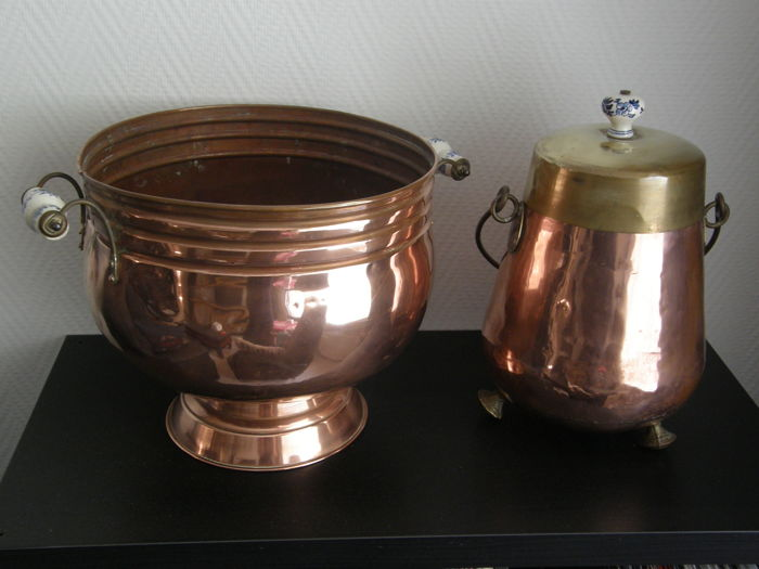 copper planter (pot) and copper extinguishing pot