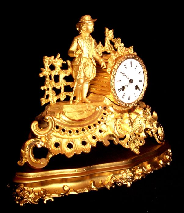 """French Napoleonic Empire - Exceptional bronze clock cartel with """"Molière"""" - Origin: France ..."""
