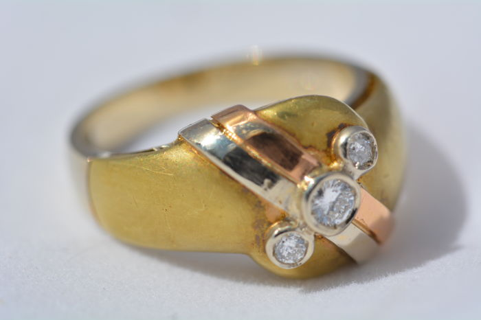 18 ct yellow gold Ring 7,30 g set with 0,22 ct Diamonds - size 7 US - Free resizing