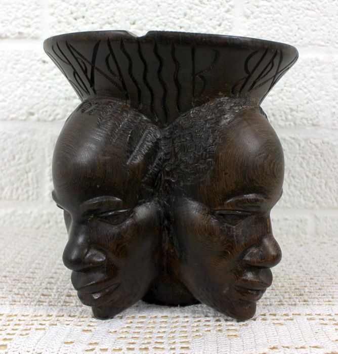 African ebony carved heads