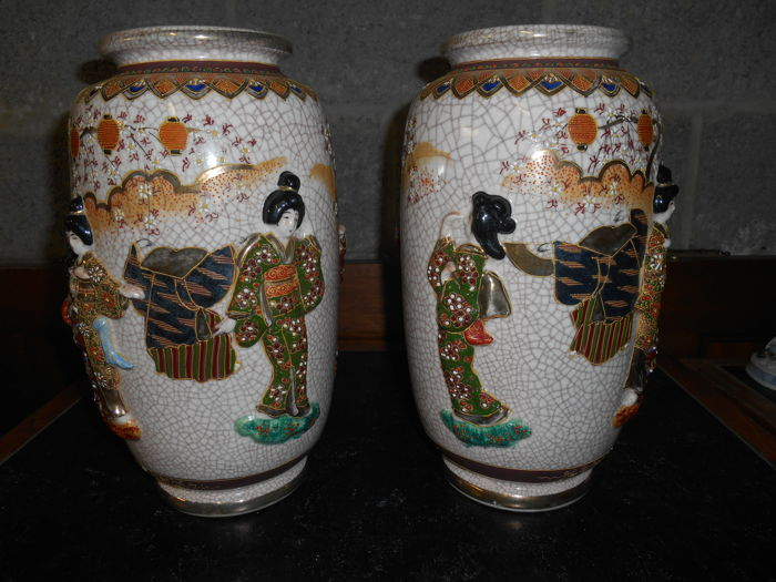 Pair Of Japanese Vases Satsuma Craquel Images Of Women Japan