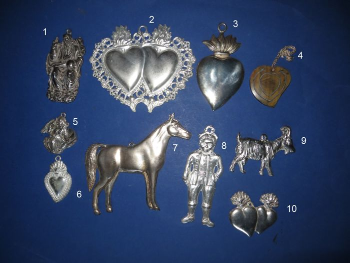 Mixed lot - 10 old Ex Voto - votive offerings - 3 to 30 years old