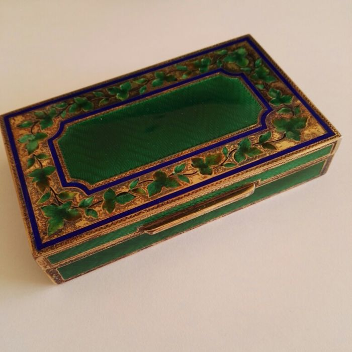 Vermeil box with torch-fired enamel on engraved base, Italy, 20th century