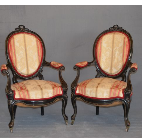 A pair of Louis Philippe rosewood armchairs - France - c. 1840