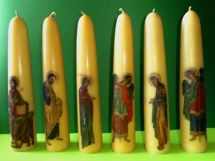 Rare lot of six ornamental candles with icon paintings Monks' work Athos Greece (circa 1950)